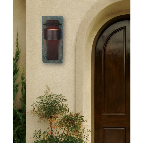 Kenroy Home 70287SL Pembrooke Extra Large Lantern, Natural Slate With Copper, Extra Large