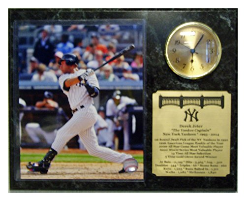 New York Yankees Derek Jeter Career Clock Plaque With Action 8X10 Picture Photograph And An Engraved Nameplate With Career Statistics front-445672