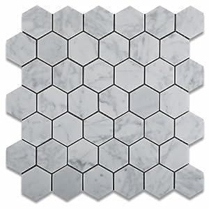 bianco carrara white marble polished 2 hexagon mosaic