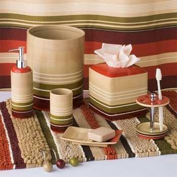 Madison stripes shower curtain collection bathroom for Striped bathroom accessories sets