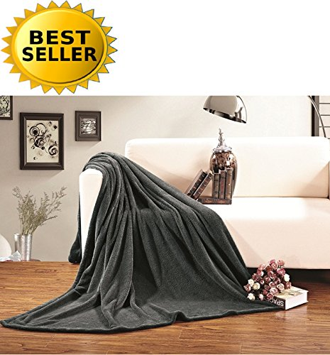 Celine Linen® #1 Fleece Blanket on Amazon - Super Soft - SALE - All Season Super Plush Luxury FLEECE BLANKET, KING/CAL KING Gray (Amazon Blankets compare prices)