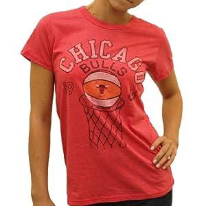 NBA Junk Food Chicago Bulls Ladies Heather Retro Logo Premium T-Shirt - Red by Junk Food