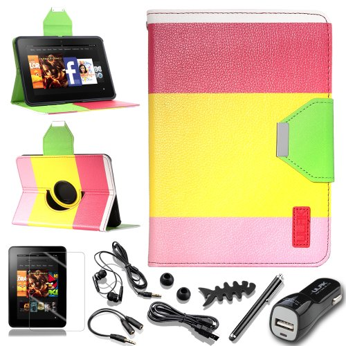 """Pandamimi Ulak(Tm) Luxury Colorful Wallet Magnet Buckle 360 Degree Pu Leather Case Cover With Auto Sleep-Wake Function For Amazon Kindle Fire Hd 7"""" (2012 Previous Model, Not Fit All New Kindle Fire Hd 2013 And Kindle Fire Hdx) With Screen Protector And 7-"""
