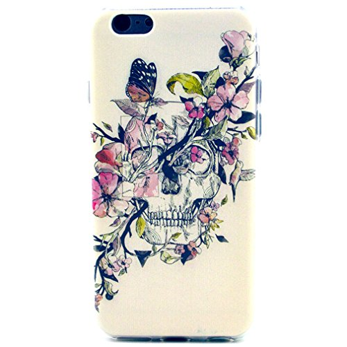 Per iphone 6 , Leathlux Personalità Fiore Skull and Butterfly Stile Slim Skin Flessibile TPU Custodia Morbido Protettiva Cover Case per Apple iphone 6 (4.7 inch) / iphone Air