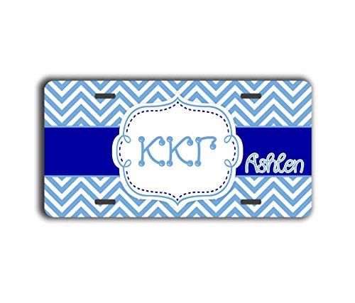 Kappa Kappa Gamma personalized license plate - Blue and white chevron (Unusual License Plate Frames compare prices)