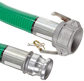 """Goodyear EP Spiraflex Aggie Green PVC Suction/Discharge Hose Assembly, 1-1/2"""" Aluminum Cam And Groove Connection, 29mmHg Vacuum Rating 89 PSI Maximum Pressure, 20' Length, 1-1/2"""" ID"""