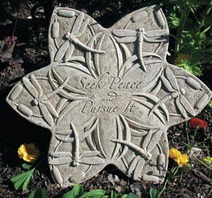 "Seek Peace DRAGONFLY STEPPING STONE 16"" Cast Cement Tile"