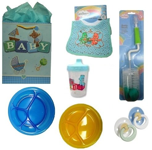 Gift Set Baby Boy Feeding Gerber First Essentials Soft Center Silicone Pacifier, Care Bear BPA Free Sippy Cup & Pullover Bib & More!!