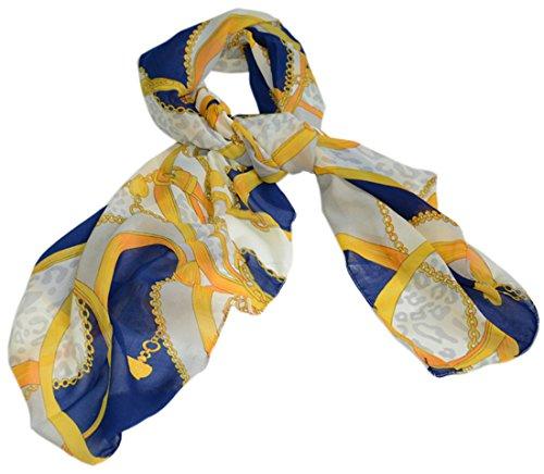 Am Clothes Womens Fashional Iron Chain Leopard Grain Pattern Chiffon Scarves (Blue)