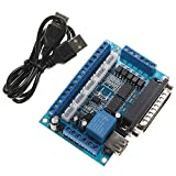 LIPOVOLT 5 Axis CNC Interface Adapter Breakout Board For Stepper Motor Driver Mach3 W/USB