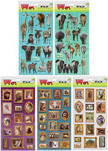 Children's 5-Pack Collection Reusable Puffy Sticker Bundle Benefitting African Wildlife Federation For Use With Sticker Farm African Wildlife Activity Book - 1