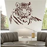 Animal Large Tiger Half Body Wall Decal Sticker Living Room Stickers Brown Color High 60cm Wide 90cm