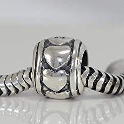 925 Sterling Silver Heart In Ring Bead For European bracelet EC208