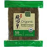 ONE ORGANIC Sushi Nori Premium Roasted Organic Seaweed (50 Sheets)