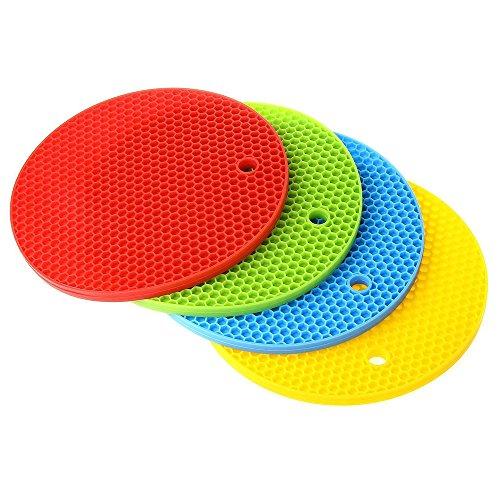 Presine in silicone resistente al calore, isolamento dhong antiscivolo tappeto da cucina, flessibile HOT Pads Sottopentola (Confezione da 4)