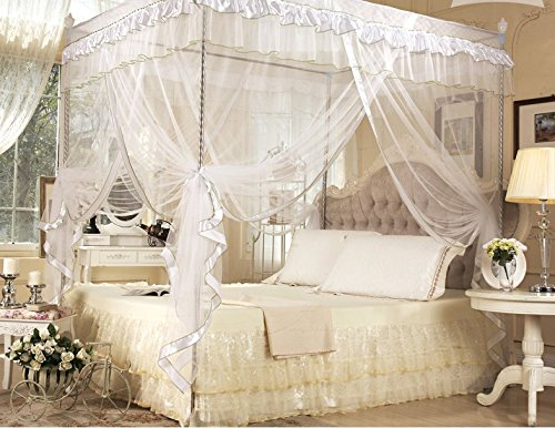 White Four Corner Square Princess Bed Canopy Mosquito Netting (Twin) (Twin Canopy Frame compare prices)
