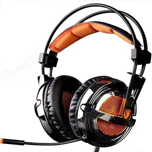 【正規品】SADES 専門7.1サラウンドサウンドステレオUSB PC ゲーミング ヘッドセット 眩しいLED&マイク&ステレオ ヘッドホン A6イヤホン 音楽 PC用 【マイク音量調節 ノイズキャンセリング機能搭載】
