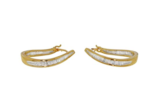Carissima Gold 9ct Yellow Gold 0.25ct Diamond Baguette Set Creole Earrings