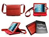 Bear Motion 100% Brazilian Buffalo Leather Shoulder Bag Case with Stand for iPad 2 / iPad 3 / New iPad / iPad 4 Cover (iPad 2 / iPad 3 / iPad 4, Red)