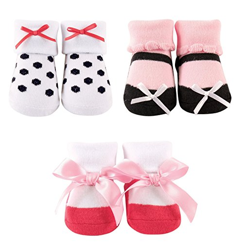 Luvable Friends Baby Little Shoe Socks 3 Piece Gift Set, White/Pink, 0-9 Months
