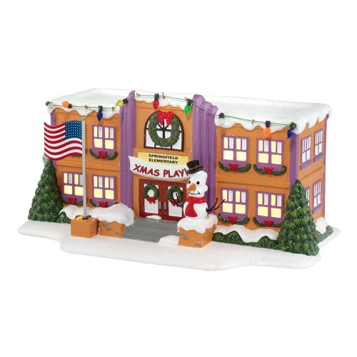 Department 56 The Simpson's Village from Springfield Elementary School Lit House Figurine, 5.12-Inch