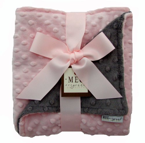 Meg Original Minky Dot Baby Girl Blanket Pink/Charcoal Gray