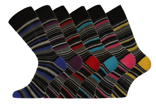 6 Pk Mens Pierre Calvini Luxury Stripe Cotton Rich Sock