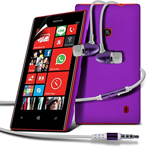 ( Purple ) Nokia Lumia 520/525 Premium Hybrid Hard Back Shell Skin Case Cover With Lcd Screen Protector Guard & Aluminium In Ear Earbud Stereo Hands Free Earphone With Built In Mic & On-Off Button By Fone-Case