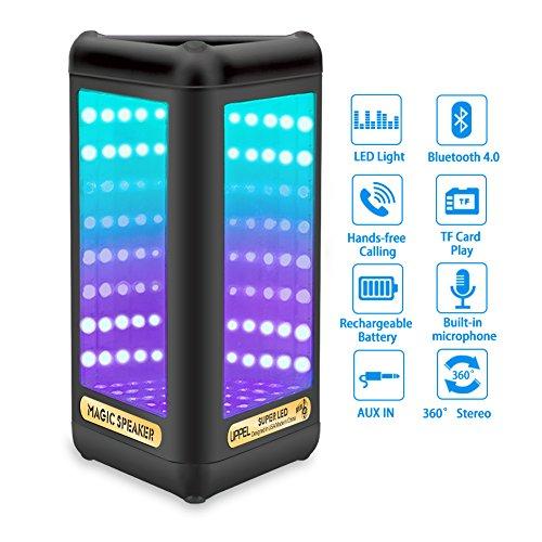 Milool-Tragbarer-LED-Licht-Visual-Bluetooth-Lautsprecher-Indoor-Outdoor-Portable-Sport-Speaker-mit-Subwoofer-Mikrofon-Magic-SpiegelBass-fr-Handys-iPhone-Samsung-usw