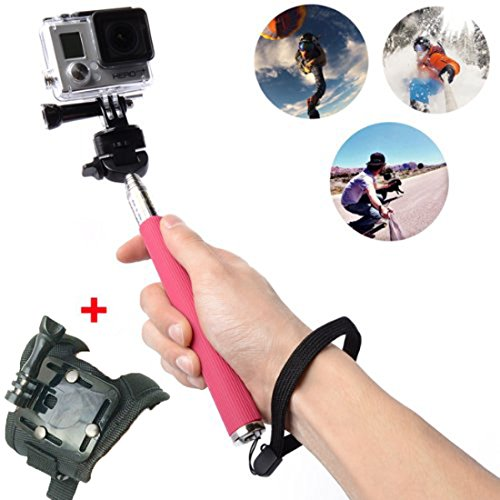 Oldelf Extendable Telescopic Handheld Pole Arm Monopod Black With Tripod Adapter And Screw For Gopro Hd Hero 3+/Hero 3/Hero 2/Hero 1 Digital Camera Enable Self-Service Photographs (Rose Red With Adapter And Screw)