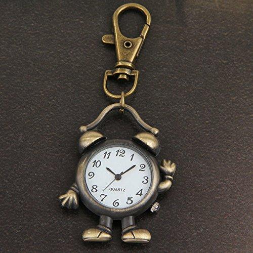 Ecloud Shop® Bronze Metall Wecker Roboter Schlüssel Anhänger Schlüsselanhänger mit Uhr
