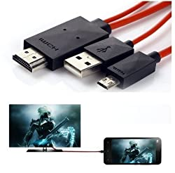 TapaWire MHL MIcro USB to HDMI 1080P HD TV Cable Adapter for Samsung Galaxy S3 S4 S5 Note 2 Note 3 (Red) 1 Year Warranty