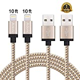 Adoric iPhone Charger Cord, 2Pack 10FT Nylon Braided Lightning to USB Cable with Aluminum Connector for iPhone 7/7 Plus/6s/6s Plus/6/6Plus/5s/5c/5, iPad/iPod Models(Golden).