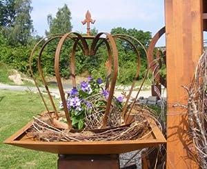 Krone lilie edelrost metall deko krone gartendekoretion for Gartendeko eisen gartendekorationen