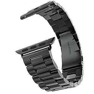 YISUYA 42mm Apple Watch Band, correa Classic Apple iWatch de la muñeca de banda con cierre plegable de doble botón de repuesto de metal macizo de acero inoxidable negro por YISUYA
