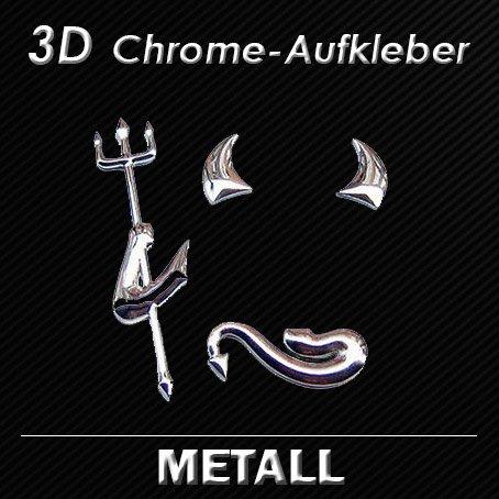3D METALL Chrom Auto DEVIL Aufkleber TEUFEL Emblem - Mercedes - OPEL - Ford - Honda