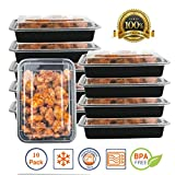 Pakkon 1 Compartment Bento Box / Durable Plastic Lunch Container with Airtight Lid • Use For 21 Day Fix, Meal Prep and Portion Control • Lunch box For kids and adults [10 pack]