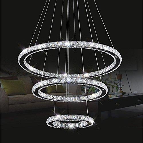 kristall deckenleuchte topmax led pendelleuchte 30 50 70cm 3 ringe kristall chrom kaltwei a. Black Bedroom Furniture Sets. Home Design Ideas