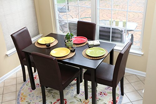 5 PC Espresso Leather Brown 4 Person Table and Chairs Brown Dining Dinette - Espresso Brown Parson Chair (Kitchen Table And Chairs For 4 compare prices)