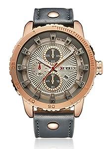 CURREN Men's Quartz Movement Date Calendar Waterproof Sport Outdoors Leather Band Wrist Watch Grey