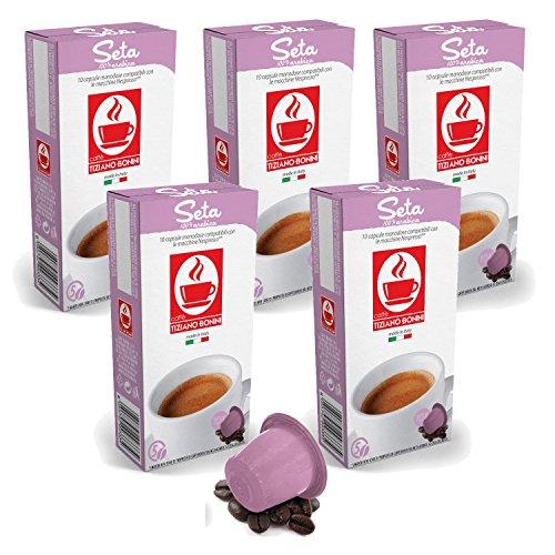 Find Bonini Coffee Capsules, Seta - Nespresso Compatible- 5-Pack (5x10 Capsules) - Caffè Tiziano Bonini