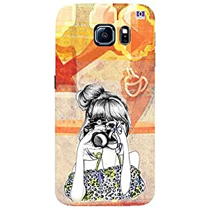 Girl with Camera - Mobile Back Case Cover For Samsung Galaxy S6 Edge