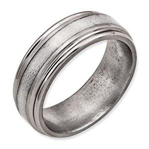 Titanium Grooved Edge Sterling Silver Inlay 8mm Brushed/Polished Band