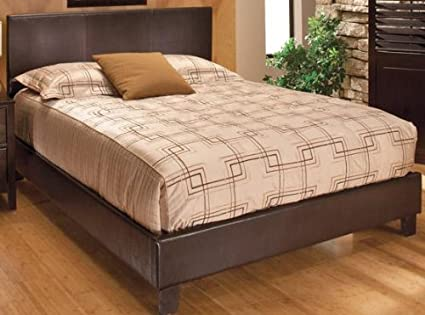 Kendall Faux leather Bed, QUEEN, BROWN