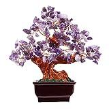 Feng Shui Natural Amethyst Quartz Gem Stone Money Tree 7 Inch Purple Crystal Money Tree