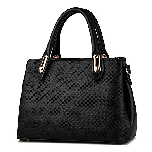koson-man-womens-pu-leather-sling-vintage-zipper-tote-bags-top-handle-handbagblack