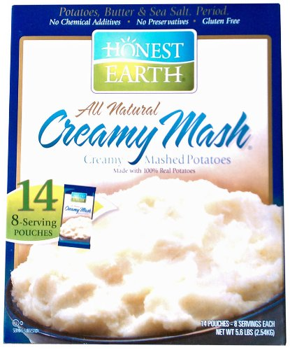 Honest Earth All Natural Creamy Mashed Potatoes Net Wt 5.6 LBS (2.54 KG) (14 Individually Sealed 8-Serving Pouches)