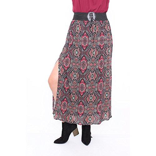 Plus Size Paisley Print Maxi Skirt With Lace Up Belt LS5581,BLACK,XXL