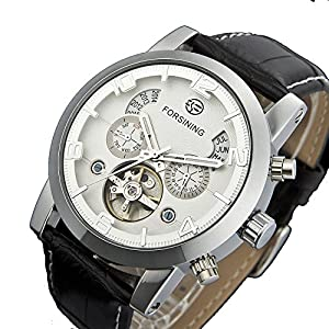 PASOY Men's Automatic Machine White Dial Tourbillion Silver Watch Leather waterproof Men Week Watch
