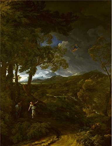 Perfect Effect Canvas ,the Imitations Art DecorativePrints On Canvas Of Oil Painting 'Gaspard Dughet - Landscape With Elijah And The Angel,about 1663', 18x24 Inch / 46x60 Cm Is Best For Living Room Artwork And Home Gallery Art And Gifts (Steel Building 40x60 compare prices)